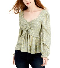 planet gold juniors' ruched front peplum top