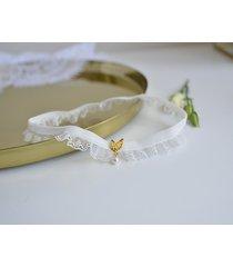 podwiązka ivory z listkami i perełką