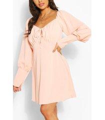 long sleeve mini skater dress, peach