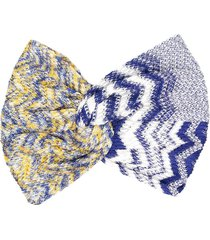 missoni crochet knit hair bow - blue