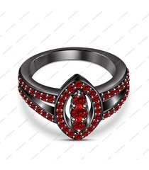 14k black gold finish round cut red garnet wedding jewelry marquise shape ring