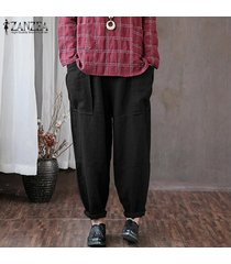 zanzea mujeres de cintura alta sólidos básicos pierna recta pantalons pantalones pantalones -negro
