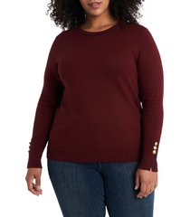 plus size women's court & rowe contrast tipped crewneck pullover, size 1x - red
