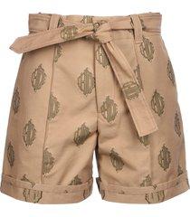 tied waist printed shorts