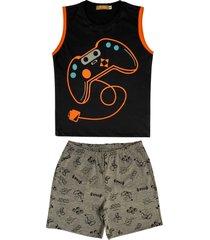 conjunto pijama de vãdeo game cavado douvelin preto - cinza/laranja/preto - menino - algodã£o - dafiti