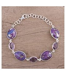 sterling silver link bracelet, 'gleaming lilac' (india)