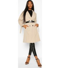 faux leather belted trench coat, stone