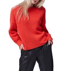 women's french connection millie mozart waffle knit sweater, size large - orange