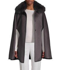 dyed fox fur collar wool cape