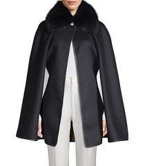 dyed fox fur collar wool cape