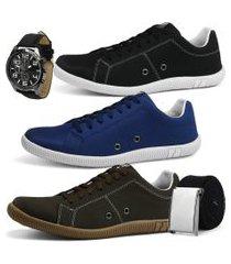 kit 3 pares de sapatênis casual rebento com cinto e relógio preto azul e café