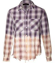 lurex ombre plaid shirt, purple