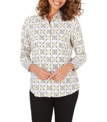 women's foxcroft ava decorative tile wrinkle free shirt, size 18 - yellow