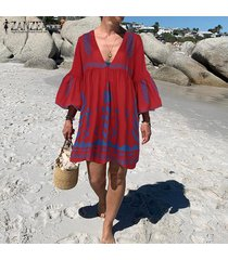 zanzea mujeres largo de bell camisa de manga larga vestido de corte bajo bikini cover up vestido mini plus -rojo