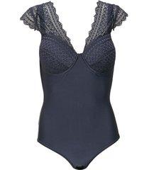 body calvin klein underwear recortes renda azul-marinho