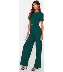 womens crop t-shirt and wide-leg pants set - green