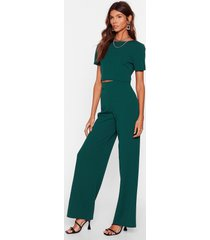 womens crop t-shirt and wide-leg pants set - green