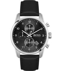 boss men's chronograph skymaster black leather strap watch 44mm