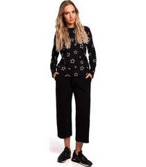 blouse moe m444 bedrukte top met lange mouwen - zwart