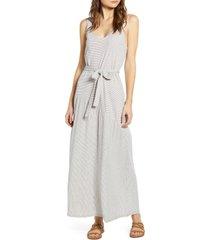 women's lucky brand eliza stripe belted sleeveless cotton blend maxi dress, size x-small - white