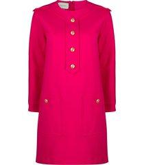 gucci button-embellished shift dress - pink