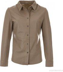 cognac kleurige leren blouse gustav 24600