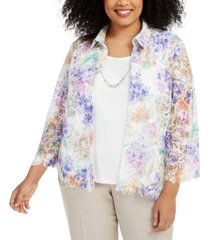 alfred dunner plus size nantucket printed lace layered-look necklace top