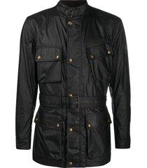 belstaff multi-pocket belted jacket - grey