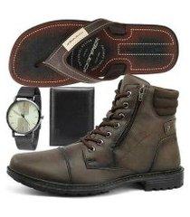 kit bota sapatofran coturno masculino + relógio + chinelo + carteira masculino