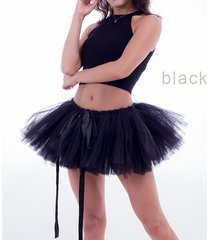women mini tutu skirt drawstring waist solid color mini petticoats ballet skirts