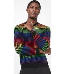 mk pullover in cotone a righe arcobaleno - nero (nero) - michael kors