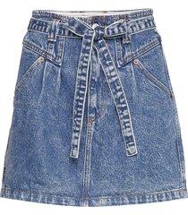 button front skirt kort kjol blå abercrombie & fitch