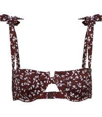 recycled fabric swimwear bikinitop brun ganni