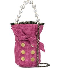 kooreloo mini tweed bucket bag - pink