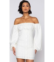 akira pretty little lady off the shoulder dress with puffy sleeves