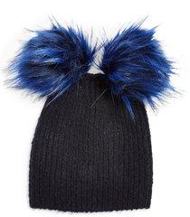 women's topshop faux fur double pompom beanie -