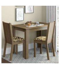 conjunto sala de jantar madesa bel mesa tampo de madeira com 2 cadeiras rustic/bege marrom rustic/bege marrom