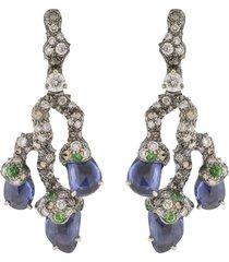 blue sapphire leaf earrings