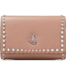 jimmy choo varenne pearl-embellished clutch bag - pink