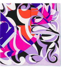 emilio pucci fortuna print silk-twill square scarf - purple