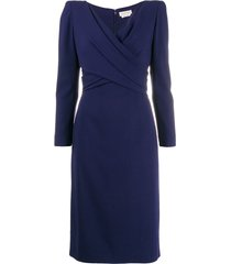 alexander mcqueen draped mid-length dress - blue