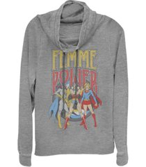 fifth sun dc justice league femme power cowl neck women's pullover fleece