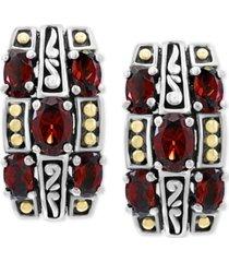 effy rhodlite garnet curved drop earrings (3-5/8 ct. t.w.) in sterling silver & & 18k gold