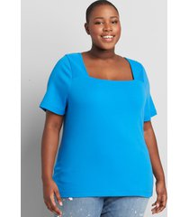 lane bryant women's square-neck short-sleeve tee 22/24 french blue