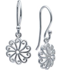 giani bernini mini-flower drop earrings in sterling silver, created for macy's
