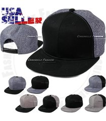 baseball snap back cap solid plain flat bill adjustable hat denim unisex black