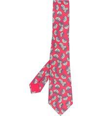 hermès 2000s pre-owned floral-print tie - red