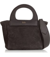 max mara designer handbags, dark brown reversible nano top handle bag