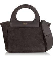 max mara designer handbags, dark brown reversible nano top handle bag