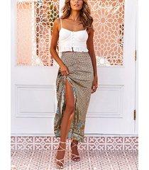 calico floral fruncido diseño falda de cintura elástica con dobladillo alto y bajo